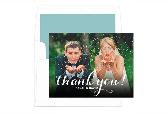 black sweet script thank you note card