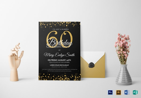 black and gold 60th birthday party invitation template