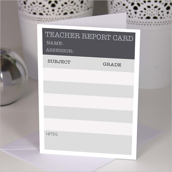 blank a5 handmade teacher report card template