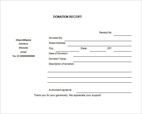blank church donation receipt download