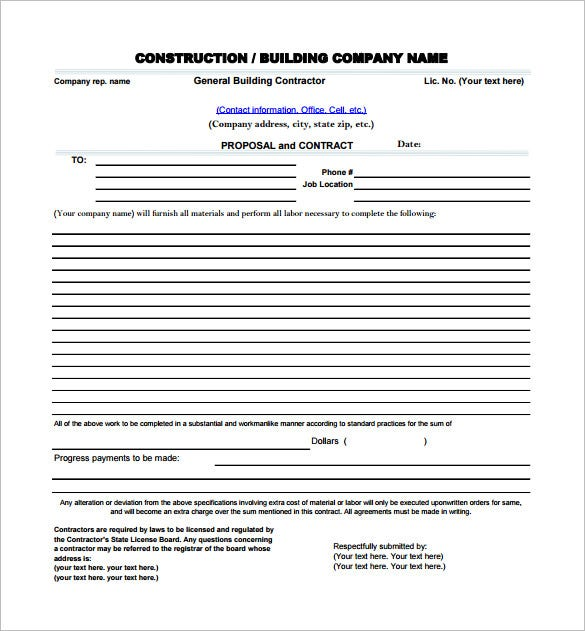 Construction Proposal Template – 10+ Free Word, Excel, Pdf Format
