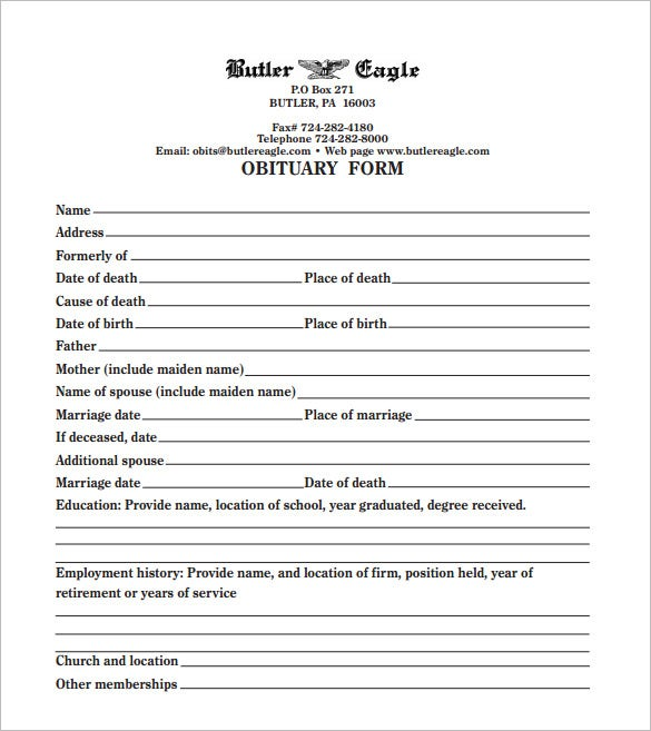 blank funeral obituary template download