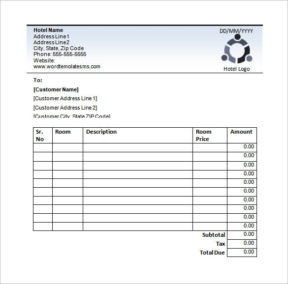 Blank Hotel Receipt Example Download  Customer Receipt Template