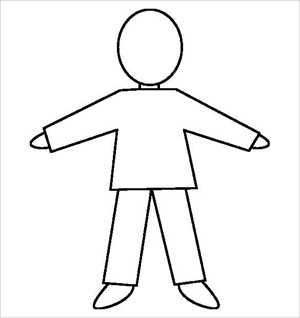 Blank Human Body Outline Template For Kids