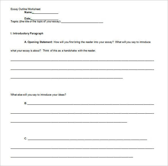 blank informative essay outline template sample - Example Of An Essay Outline Format