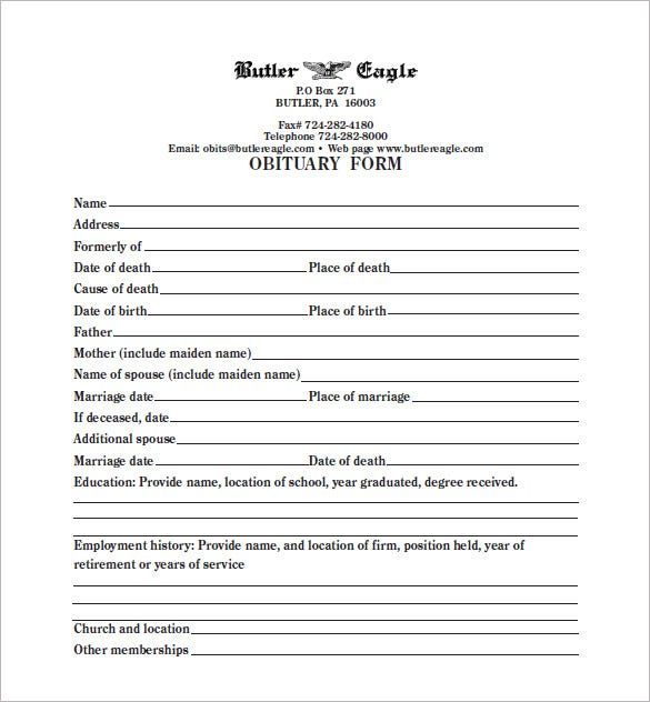 Elegant Blank Obituary Form Template PDF Doc With Blank Program Template