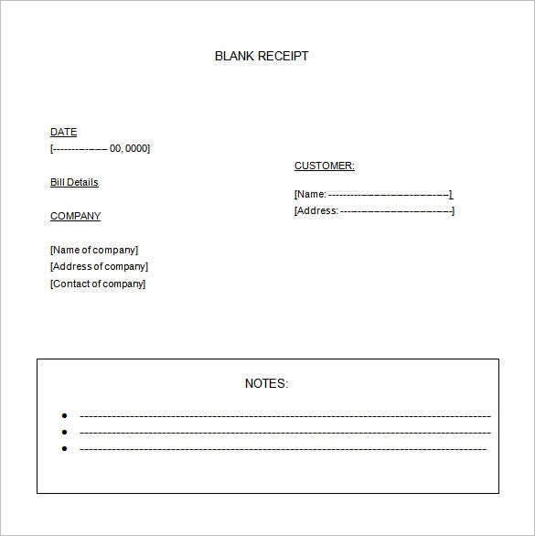 Blank Receipt Template 20 Free Word Excel PDF Vector EPS – Reciept Templates