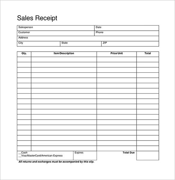 Blank Receipt Template 20 Free Word Excel PDF Vector EPS – Sales Receipt Template