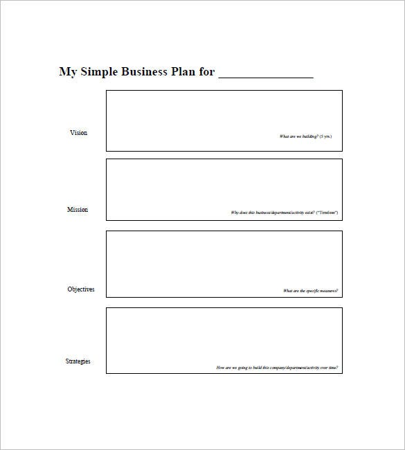Blank Simple Business Plan Template