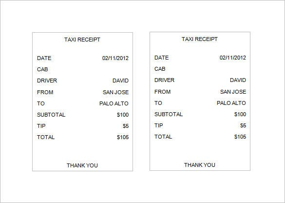 Taxi Receipt Template 12 Free Word Excel PDF Format Download – Document Receipt Form