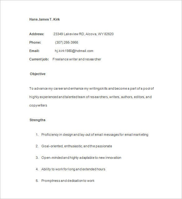 blog writer resume sample