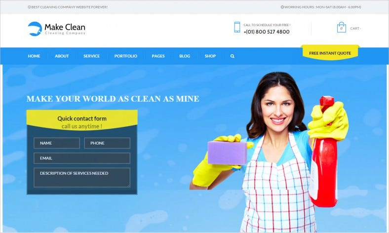 Blue Background Wp Theme for Cleaning Company