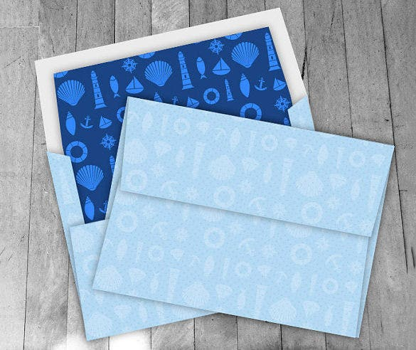 Blue Colour 5x7 Envelope Template