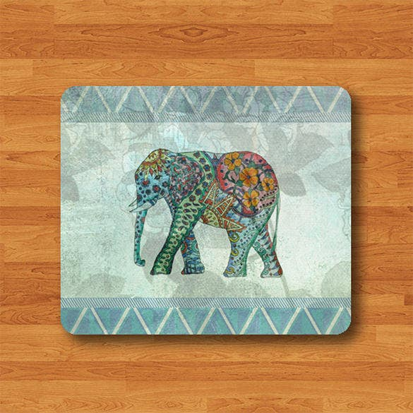 blue geometric pattern elephant