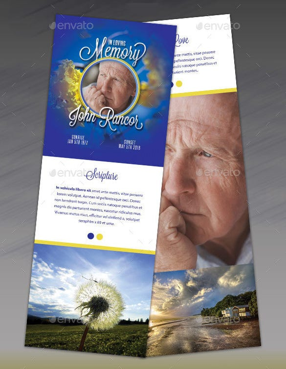 blue obituary funeral program stationary for dad