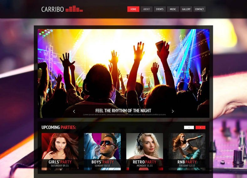 Bold Design Joomla Theme for Night Clubs
