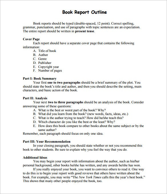 Report Outline Template   Free Free Word Pdf Format Download