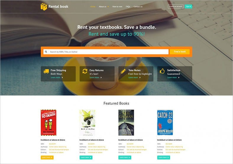 books responsive website template 788x555