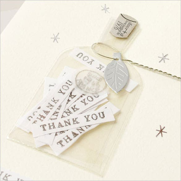 bottle style thank you card formen