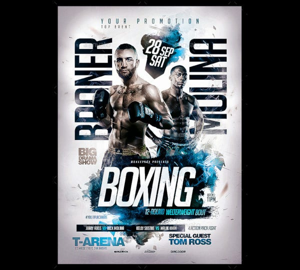 boxing event flyer template1