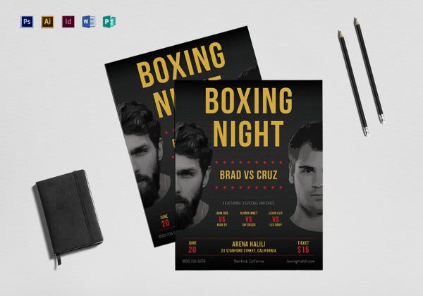 boxing flyer template in indesign