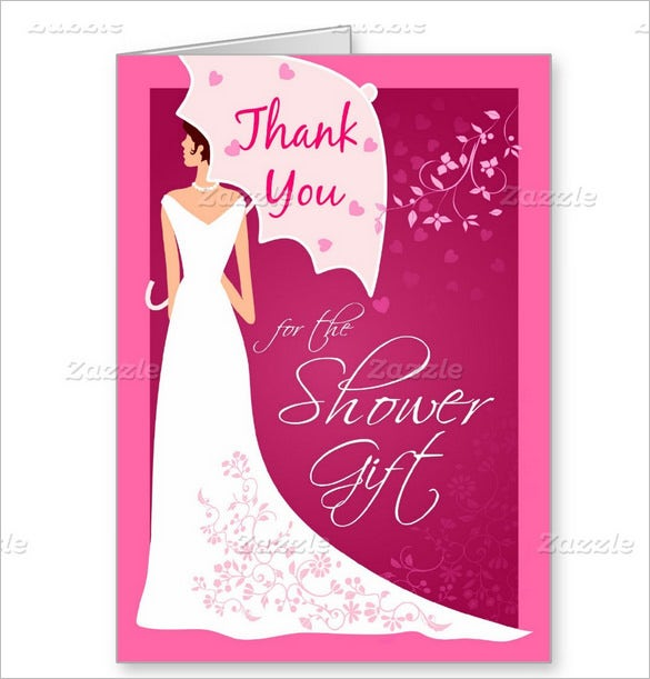 bridal shower gift thank you card