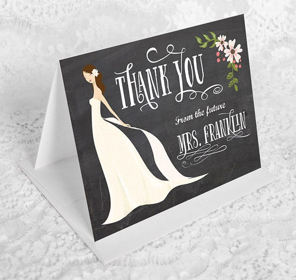 bridal shower thank you card design