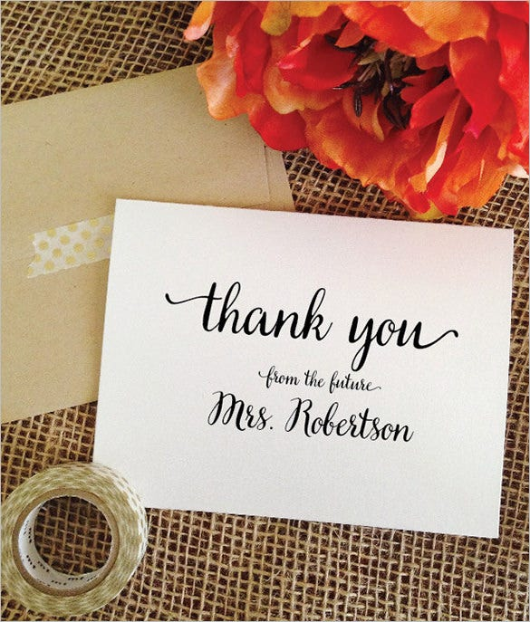 bridal shower thank you card personalized