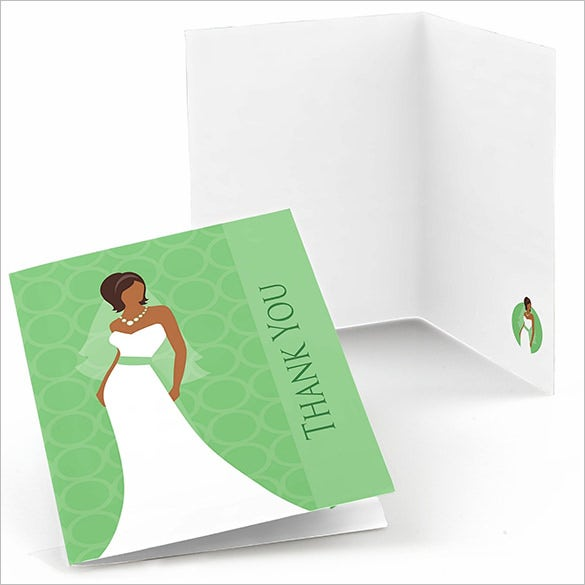 bride green color bridal shower thank you card