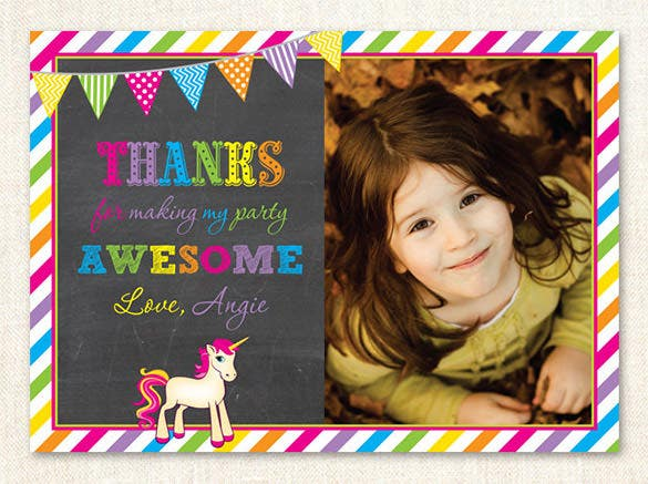 bright unicorn photo thank you card