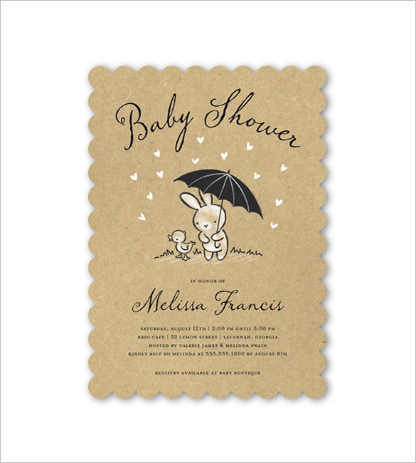 Bunny Baby Shower Card Template  Baby Shower Templates Word