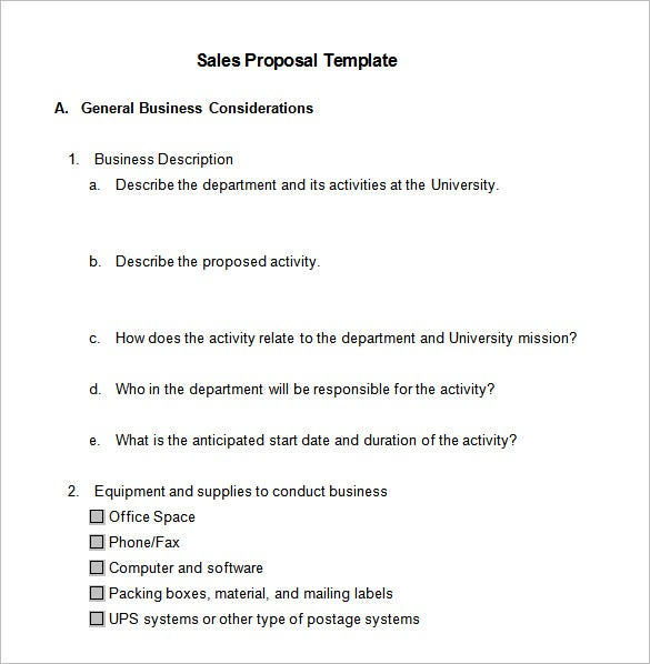 Sales Proposal Template 10 Free Sample Example Format – Formal Proposal Template