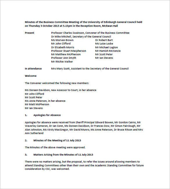 10 committee meeting minutes templates doc pdf free for How to take minutes at a board meeting template