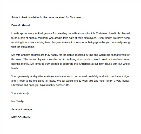 business gift thank you letter format download