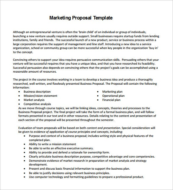 Marketing Proposal Template 15 Free Sample Example Format – Business Proposal Template Sample