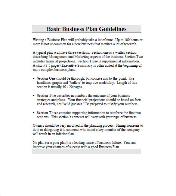 basic business plan templates