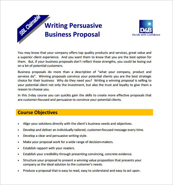 Free Sample Of How To Write A Business Proposal
