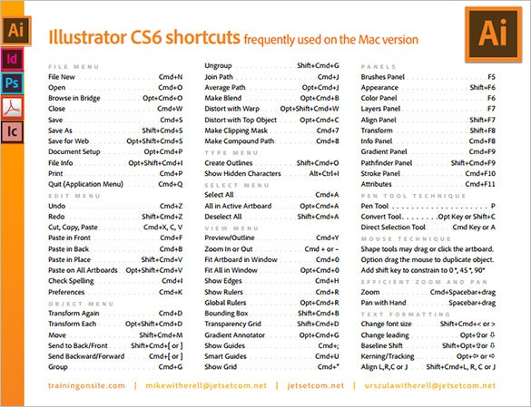 cs6 mac illustrator shortcut keys