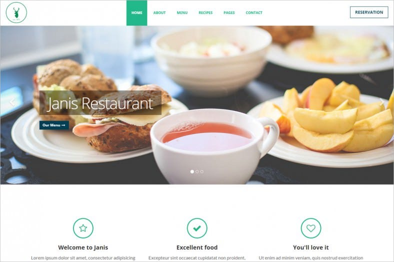 cafe restaurant website template 788x524