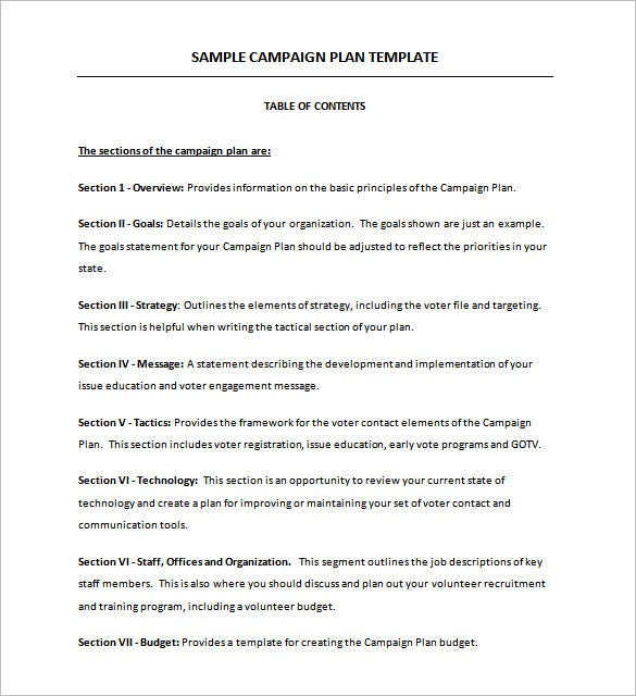 campaign planning template example