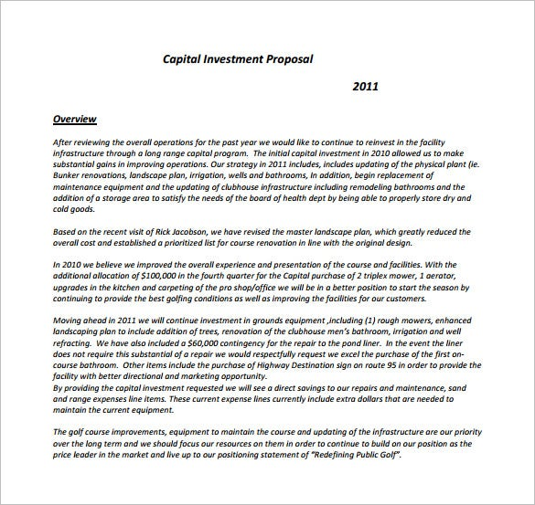 Investment Proposal Template   Free Word Excel Pdf Format