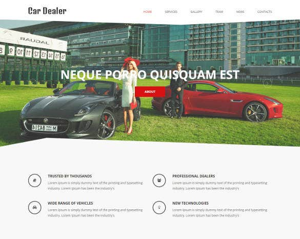 car dealer responsive one page theme1