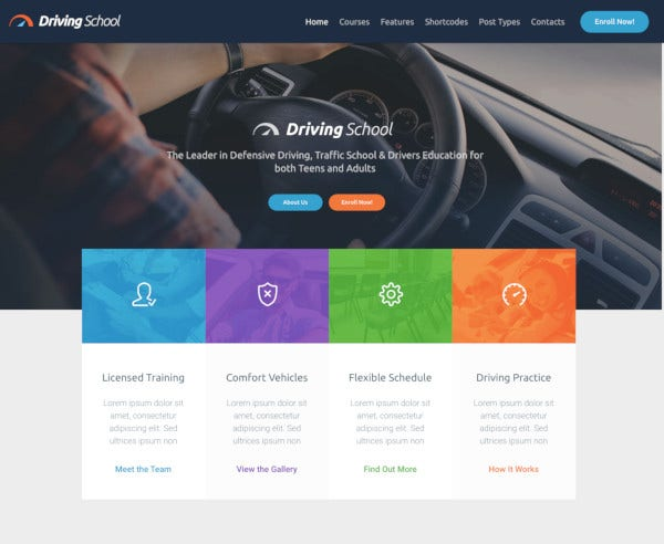 car driving school wordpress theme