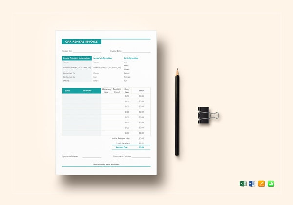 car rental invoice template