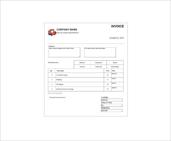 Car Rental Receipt Format Download  Free Rental Receipts