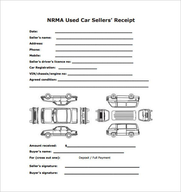 Car Sale Receipt Template 6 Free Word Excel PDF Format – Sales Receipt Template