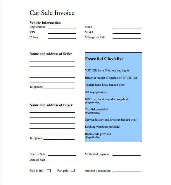 Car Sale Receipt Template Free Word Excel PDF Format - Invoice template in excel format thrift stores online