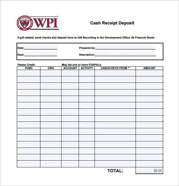 cash deposit receipt pdf download