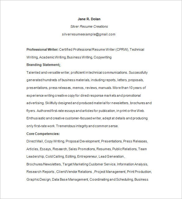 Certified Writer Resume Sample