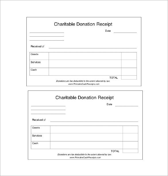 Donation Receipt Template 9 Free Word Excel PDF Format – Donation Slip Sample